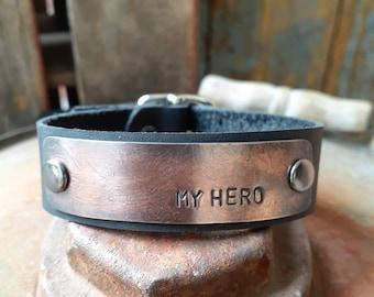 Men's Custom Stamped Bracelet, Rustic Copper, Leather with Buckle, Rustic, Women's, Unisex, Boyfriend, Brother, Father, Husband Bracelet