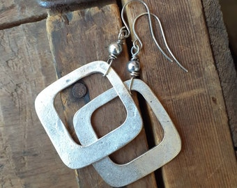 Wide Hammered Antique Silver Open Square Dangle Earrings ... Square Hoop ... Sterling Earwires ... Geometric ... Minimalist ... Simple