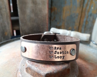 Custom Stamped Bracelet, Bright Copper, Leather with Buckle, Rustic, Men's, Women's, Unisex, Boyfriend, Brother, Father, Husband Bracelet