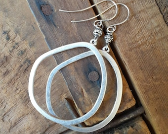 Antique Silver Organic Hoop Dangle Earrings ... Sterling Earwires ... Minimalist ... Simple ... Rustic ... Large Hoop