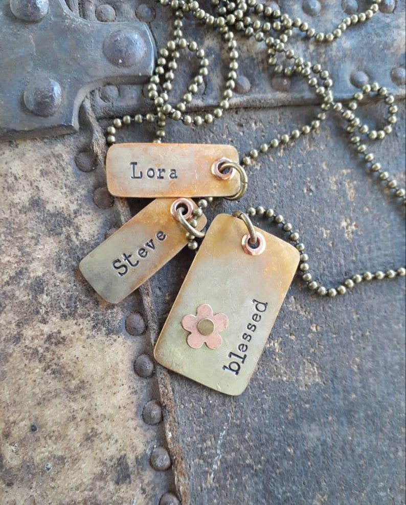 Personalized BRASS Name Necklace...Rustic Name Tags on Antiqued Brass Ball Chain...Custom Family Necklace...Initial Necklace