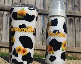 Mommy & Baby Set Sunflower and Cow Print Set, Baby Shower Gift, New Mom Gift, Mom to Be, Sunflower Bottle, Baby and Mommy Gift, Cute Gift