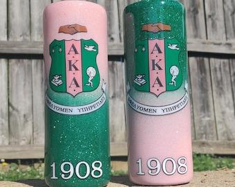 AKA Sorority Tumbler, AKA Soror, Pink and Green 1908 Tumbler, HBCU,  Pink & Green, Skee Wee