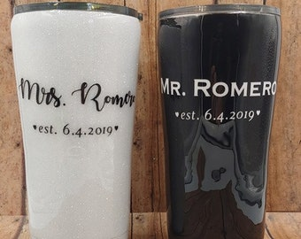 Mr & Mrs Tumbler, Wedding Gift, Newly Weds, Bridal Shower, Mr. and Mrs. Gift Set, Husband and Wife Tumbler Set, Mr. and Mrs. Double Wall Cup