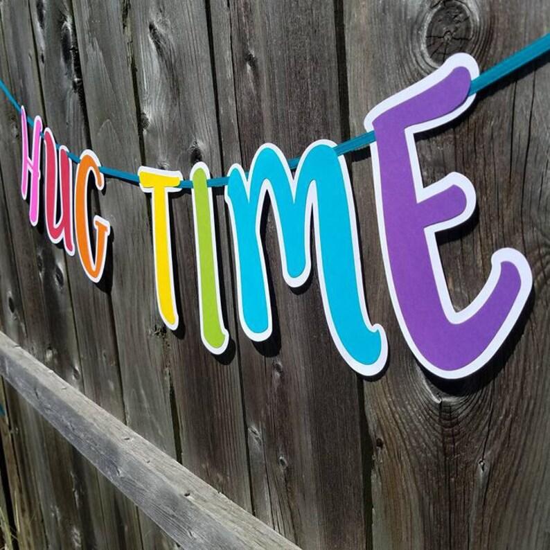 Troll Decor Trolls Birthday Hug Time Banner Trolls Banner Trolls Party Princess Poppy and Branch Hug Time Troll Hug Time Birthday