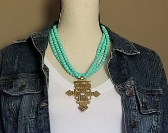 Turquoise Necklace, Triple Strand Necklace, Statement Jewelry