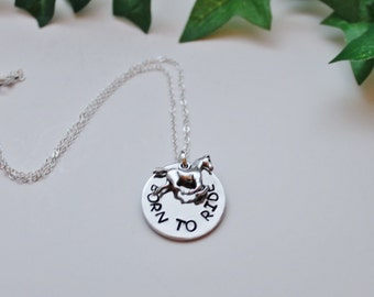 Born to Ride, Love to Ride, Horseback Riding, Stamped Necklace