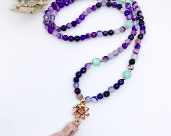Purple Mala Beads Necklace, 108 Mala Beads, Healing Gemstone Mala, Tassel Necklace, Mala Beads, Meditation Beads Necklace, Yoga Necklace