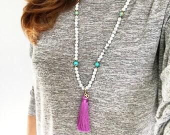 Tassel Mala Beads Necklace, Healing Gemstone Mala, Mala beads, Yoga Necklace, Meditation beads, 108 Mala beads, Japa Mala, Mala, MNHT