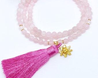 Mala Necklace,Prayer Beads,108 Mala Beads,Healing Crystal Necklace,108 Mala,Rose Quartz Mala,Meditation Mala,Pink Mala,Yoga Necklace, MRQT