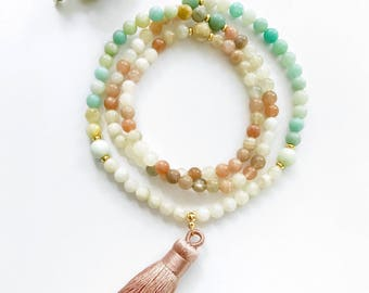 Moonstone Mala, Moonstone Mala Necklace, Amazonite Mala Beads, Mala Necklace, Prayer Beads, Healing Necklace, Mala Beads, Tassel Mala, MNMO