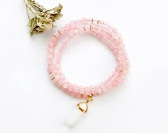 Rose Quartz Mala, Mala Beads, 108 Mala, Mala Necklace, Fertility Mala, 108 Pink Mala, Japa Mala, Mantra Mala, Yoga, Healing Mala, Mala, MRQP