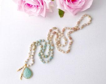 New Beginnings Moonstone and Amazonite Mala Necklace, Mala Beads, Mala Necklace, Moonstone Mala, Prayer Beads, Knotted Mala, Crystal Healing