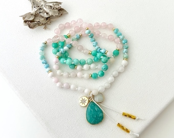 Goddess Mala with Mangano Calcite Amazonite Larimar and Rose Quartz Mala Beads, Mala Necklace, Yoga Gift for Her