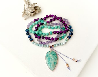 Goddess Mala Necklace with Kyanite Sugilite Amazonite Amethyst Mala Beads, 108 Prayer Meditation Beads, Yoga gift for her