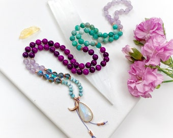 Goddess Mala with Sugilite Rainbow Mystic Aura Quartz Amazonite Amethyst Mala Beads, Moonstone Guru Mala, Mala Necklace
