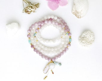 Letting Go Mala Necklace, Larimar Kunzite and Moonstone Mala Beads, Mala Necklace, Mala Prayer Beads, Yoga Jewelry, Yoga Meditation Necklace
