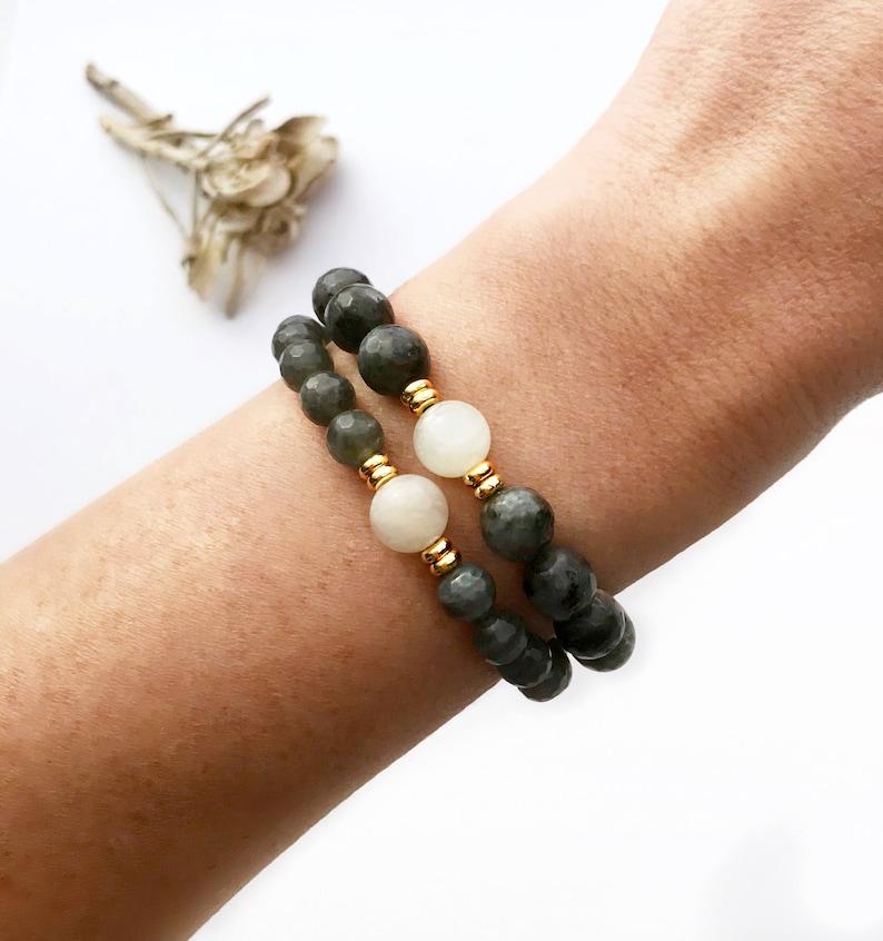Love and Strength Mala Labradorite Mala Beads Moonstone Mala Necklace