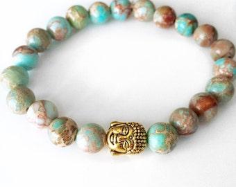 Yoga Bracelet,  Mala Bracelet, Jasper Buddha Bracelet, Buddha Bracelet, Buddha Bead Bracelet, Wrist Mala, Blue Jasper Bracelet, Yoga, BBJB