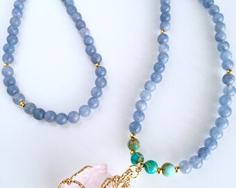 Mala Beads Necklace,108 Mala Necklace,Mala,Prayer Beads,Rose Quartz Mala Necklace,108 Mala,108 Mala Beads,Yoga Necklace,Yoga Jewelry,NMGR