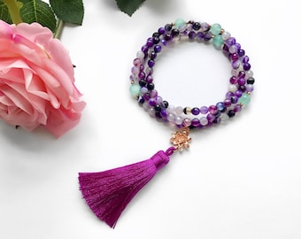 Tassel Beaded Necklace, 108 Mala, Mala Necklace, Mala Beads, Healing Gemstone Necklace, Mala, Meditation Beads Necklace, Boho Yoga Necklace