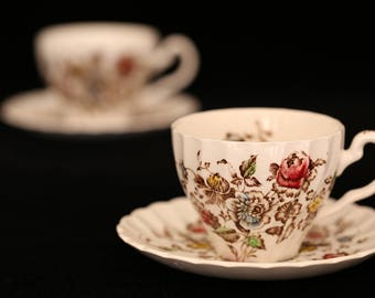 Vintage Cup & Saucer Pair, Tea for 2, Staffordshire Bouquet, Johnson Brothers Staffordshire Bouquet, Johnson Bros Ironstone Tea Cup Sets