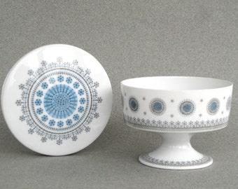 Tapio Wirkkala bonbon dish Ice blossom porcelain sugar bowl Rosenthal Studio Linie Variation trinket box container sweets blue grey white