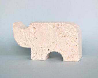 Fratelli Mannelli travertine rhinoceros figurine bookend modernist figure mid century modern rhino ornament vintage seventies Italy marble