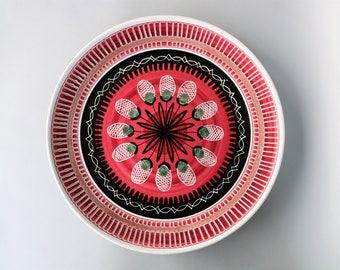 Amazing Elle Norway dish large charger art pottery fruit dish pink black green handmade retro vintage mid century modern Scandinavian design