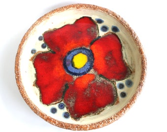 Very large FAT LAVA fruit dish jan van erp plate catchall platter centerpiece dutch pottery retro seventies space age flower power red brown