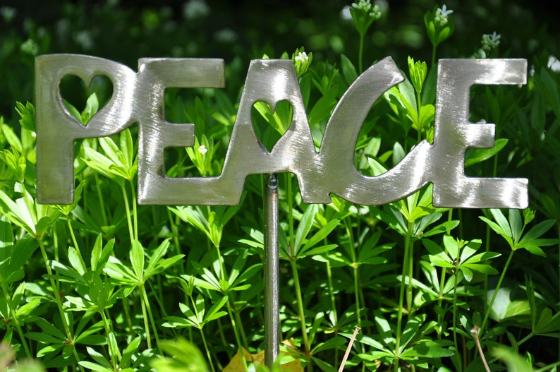 Peace Garden Stake Clear Coated