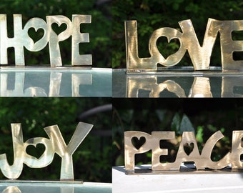 Peace Joy Love Hope Metal Shelf Sitter