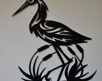 Metal Heron Wall Art