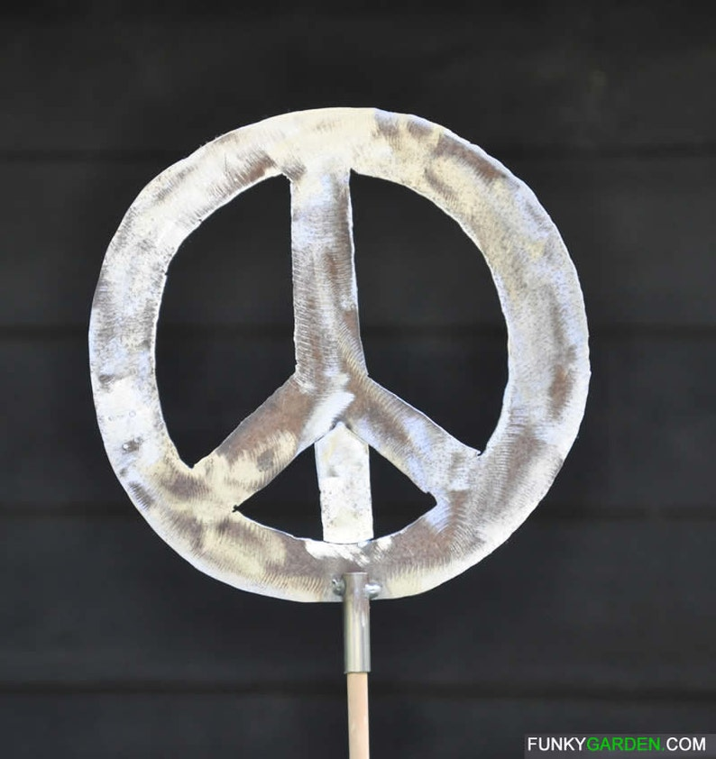 Peace Sign Metal Garden Stake Clearcoated