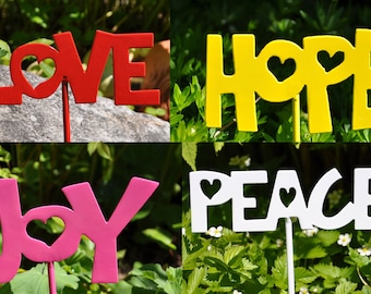 Hope Joy Love and Peace Garden Stakes set