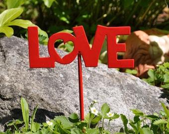 Love Metal Garden Stake