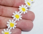 1 2 Inch White Crochet Daisy Trim with Yellow Center - 2 Yards - Crazy for Daisys