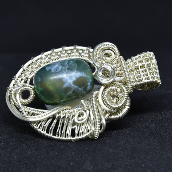 Green jade pendant jade and silver plated wire wrapped image 2