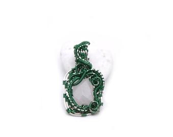 Rose quartz rococco pendant, green pendant, French rococco style
