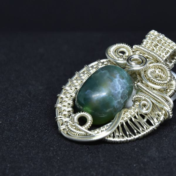 Green jade pendant jade and silver plated wire wrapped image 3