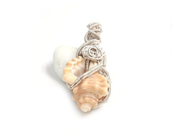 Modern shell pendant, eco jewellery, silver plated pendant, wearable shell