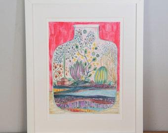 Grow Your Imgaination A3 Print, terrarium print, terrarium illustration, hand illustrated terrarium, art for children, children's art
