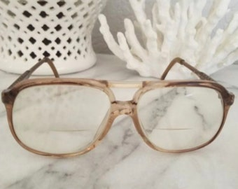 a2fcfaa7bff 70 s Vintage Luxottica Eyeglasses Brownlite Gold Frames 58 15 Made in Italy  145