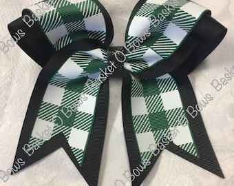 d07d5f637 Forest Green and WHITE Plaid Small Hair Bow ~ Softball Volleyball Cheer Soccer Bowling Gymnastics Dance Team  ~ MTO