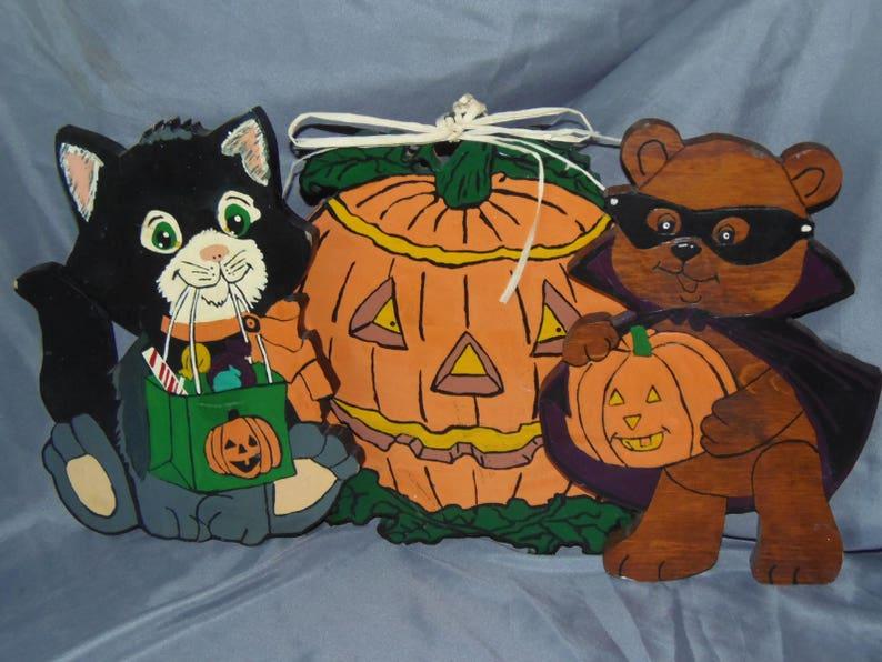 Vintage Handmade, Hand Painted Halloween Decorations Jack Ou0027 Lantern  Pumpkin, Teddy Bear, Black Cat Trick Or Treaters
