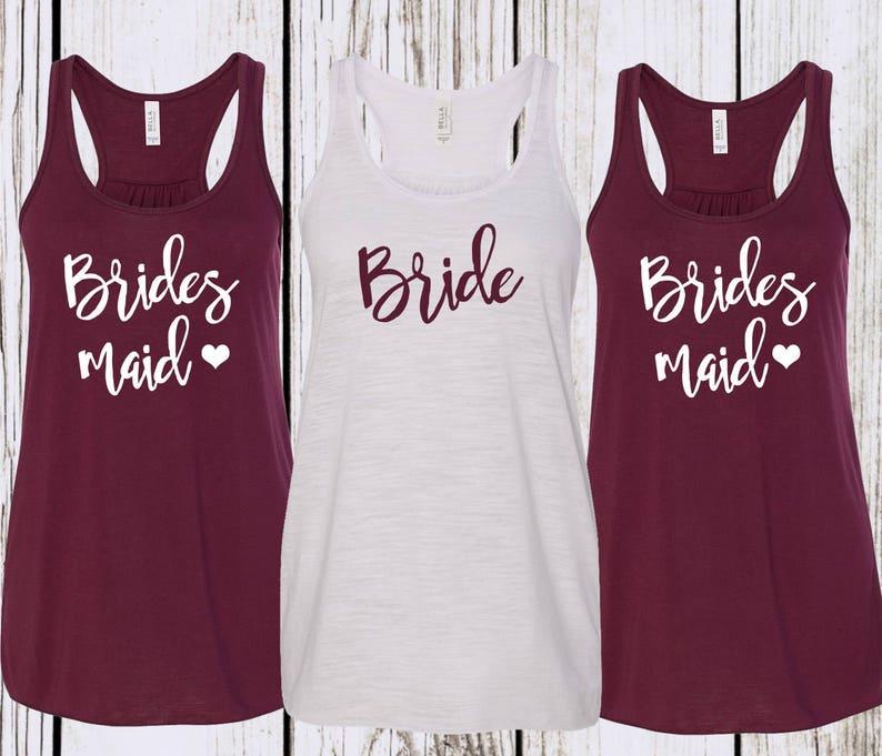 b8065b163d1dc3 Maroon Bridesmaid Tank top Bachelorette Tank Tops Bridal Party