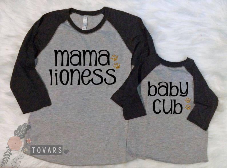 03069a89fc7a1 Mama Lioness Baby Cub matching raglan shirts Grey body with