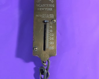 Brass Weighing Scales in Purple Velvet Case with 20 grams in weights