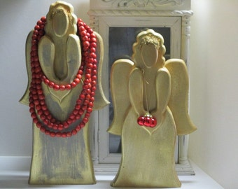 Carved wood angels / hand painted Christmas angel / gold gild / moss hair accents