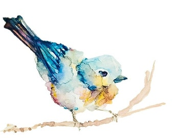 Sweet Song Bird painting: print of my original watercolor piece, 2 sizes, matted and protected